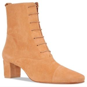 BY FAR • Lada Lace Up Boot • Nude Suede• size 8